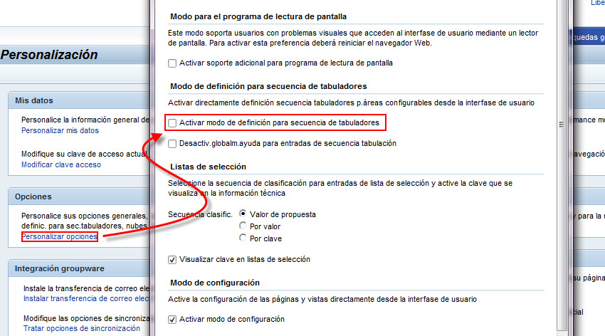 Tab order definition - Activación