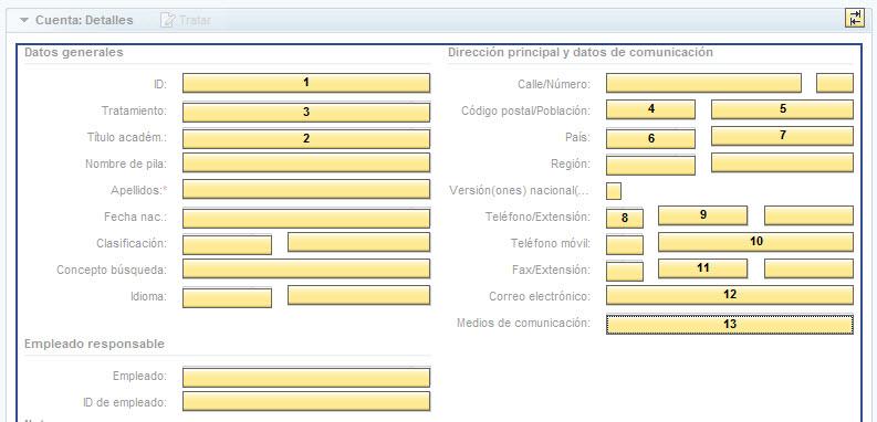 Tab order definition - Personalización