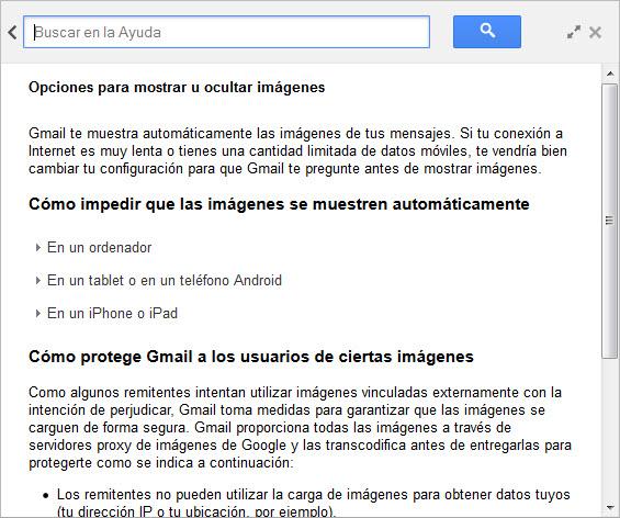 Gestión imágenes Gmail